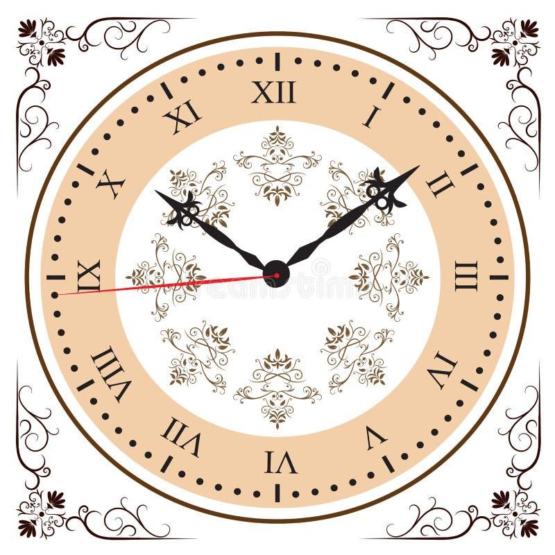 Элегантные часы римского цифра иллюстрация штока