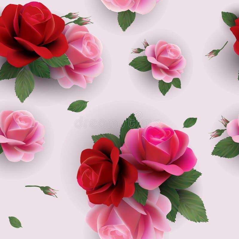 Элегантный абстрактный безшовный цветочный узор с красными и розовыми розами иллюстрация штока