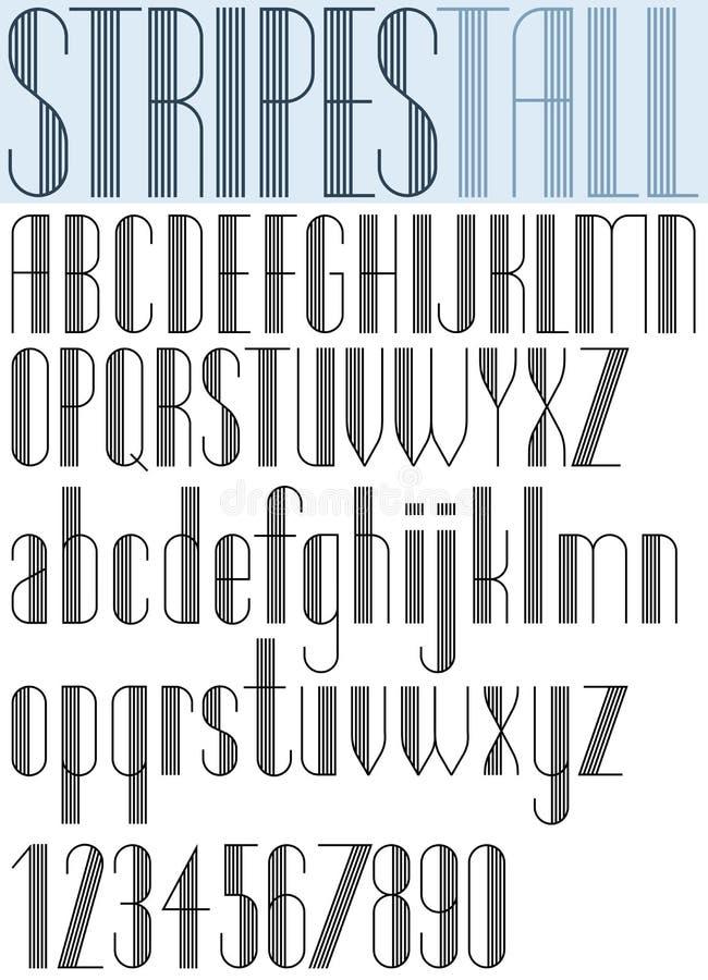 Элегантный высокорослый Striped шрифт ретро стиля художнический бесплатная иллюстрация