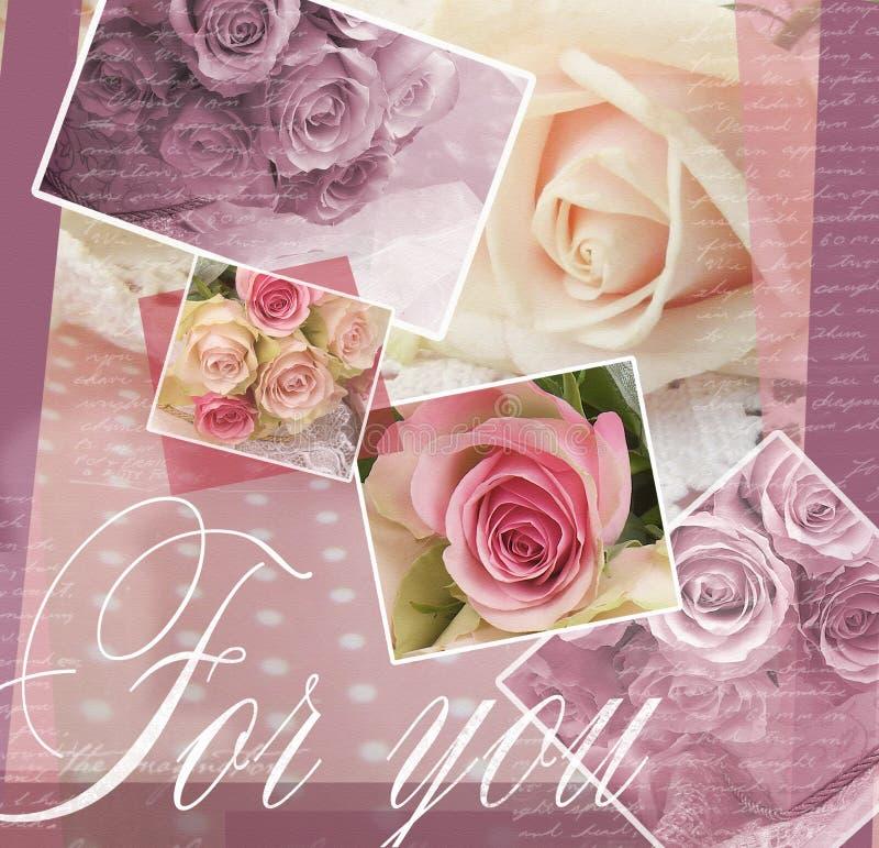Элегантный дизайн поздравительной открытки с розами Красивая предпосылка с розами для поздравлений и приглашений Картина свадьбы бесплатная иллюстрация