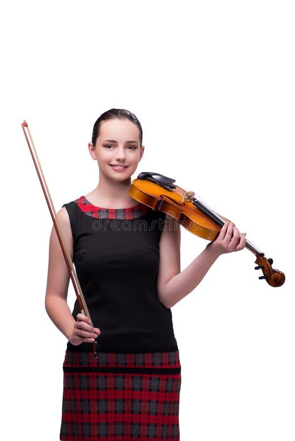 Элегантный молодой игрок скрипки изолированный на белизне стоковые изображения