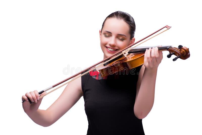 Элегантный молодой игрок скрипки изолированный на белизне стоковая фотография