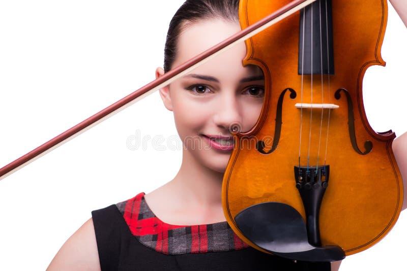 Элегантный молодой игрок скрипки изолированный на белизне стоковое изображение rf