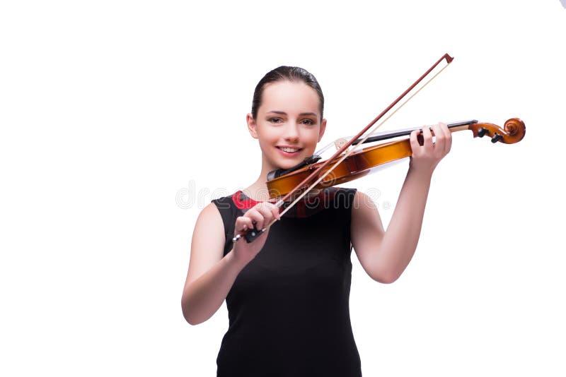 Элегантный молодой игрок скрипки изолированный на белизне стоковое изображение
