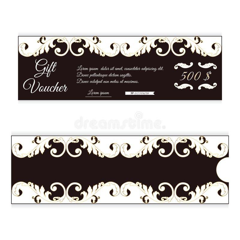 Элегантный подарочный сертификат скидки коричнев с белым цветом Openwork орнамент в викторианском стиле Для магазинов иллюстрация вектора
