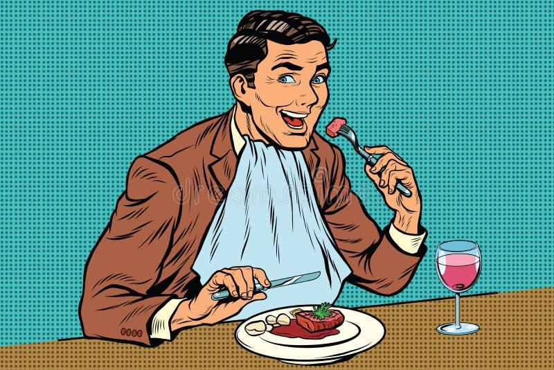 Элегантный ретро человек ест в ресторане и выпивая вине иллюстрация штока