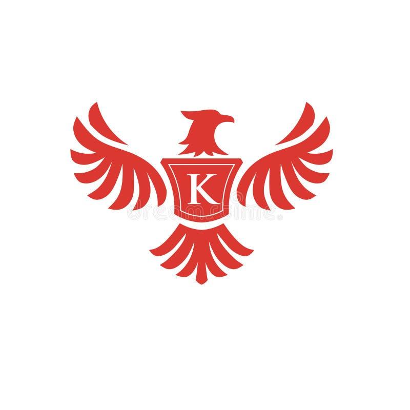 Элегантный Феникс с логотипом письма k иллюстрация штока