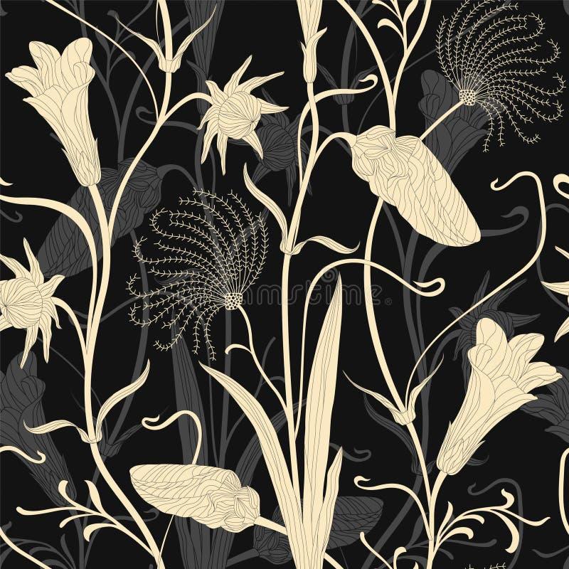 Элегантный цветочный узор на темной предпосылке бесплатная иллюстрация