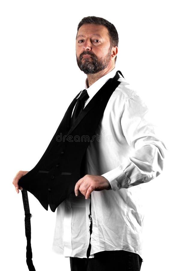 Элегантный человек на белой предпосылке стоковая фотография