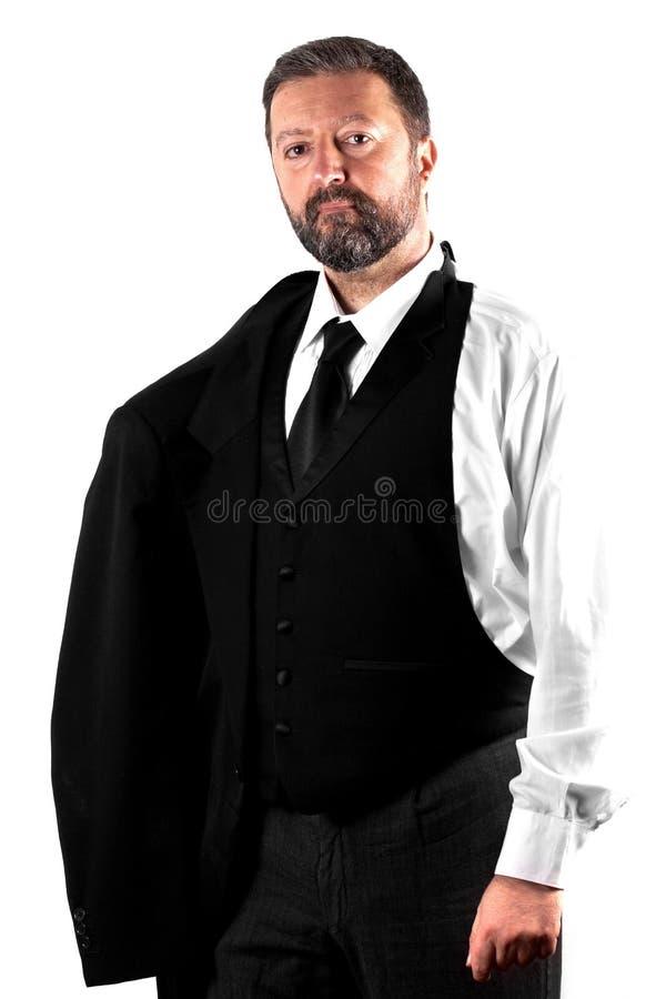 Элегантный человек на белой предпосылке стоковое фото rf