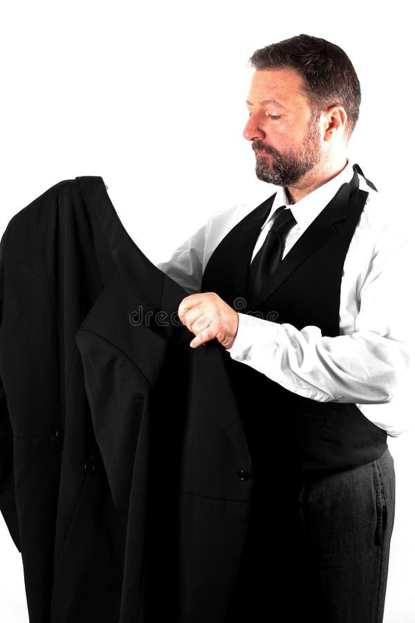 Элегантный человек на белой предпосылке стоковое изображение rf