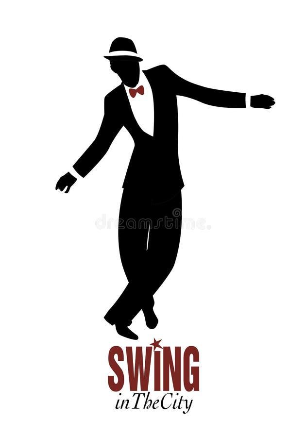 Элегантный человек при шляпа нося классический стиль и танцуя джаз иллюстрация вектора