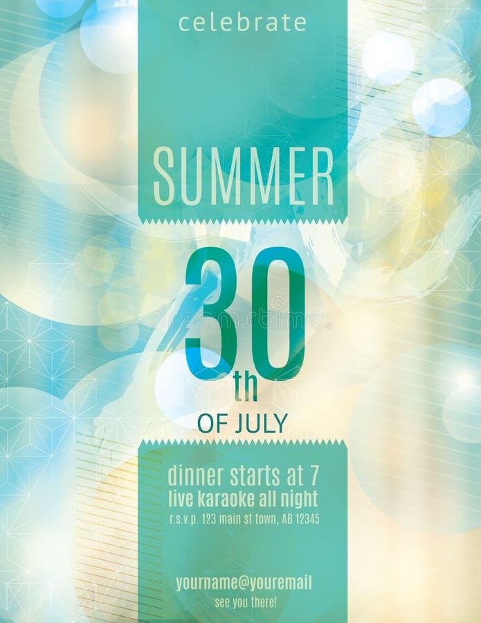 Элегантный шаблон рогульки приглашения партии лета бесплатная иллюстрация