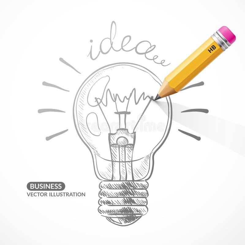 Электрическая лампочка вектора с карандашем бесплатная иллюстрация