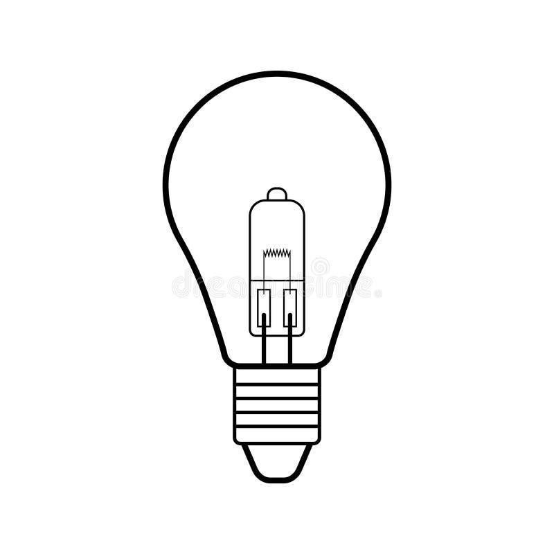 Электрическая лампочка галоида Плоский линейный значок Прожектор залы освещения equipment сбережениа иллюстрации энергии славные  иллюстрация вектора