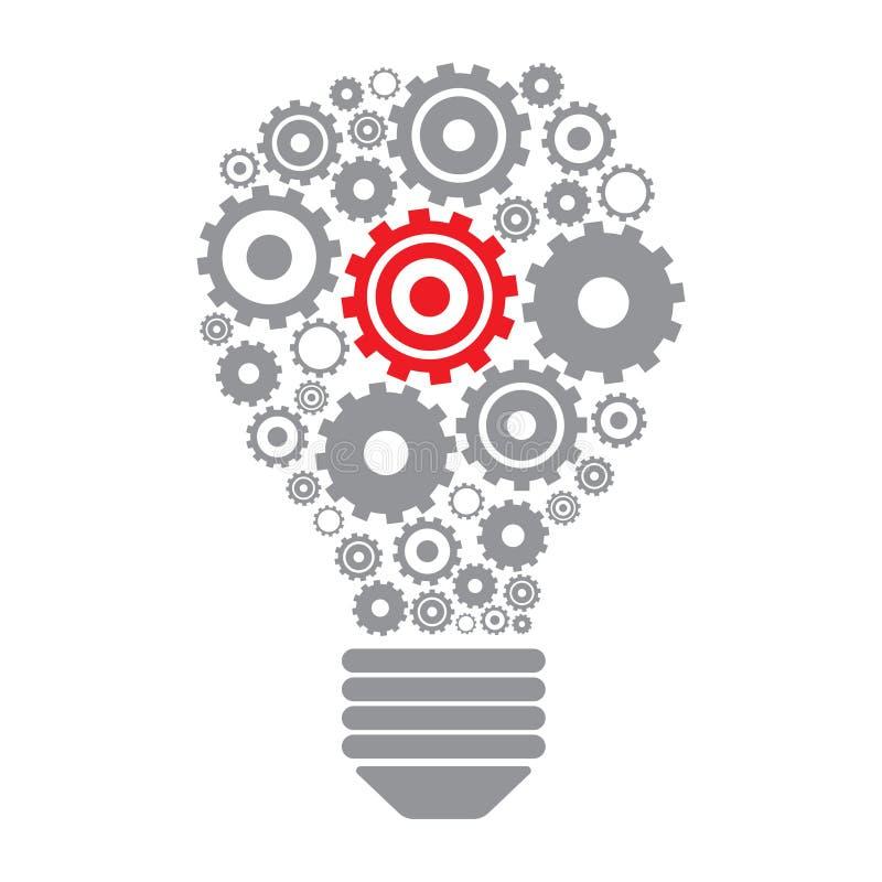 Электрическая лампочка и шестерни бесплатная иллюстрация