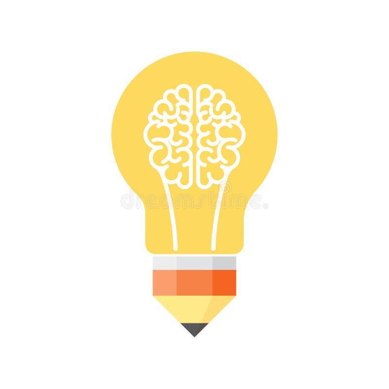 Электрическая лампочка мозга иллюстрация штока