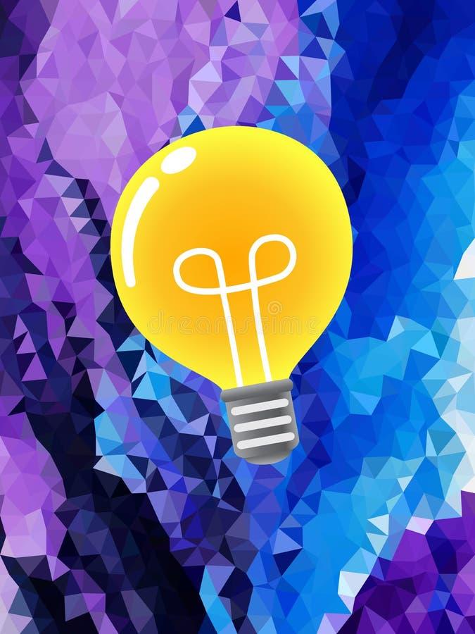 Электрическая лампочка на фиолетовой картине треугольника иллюстрация штока