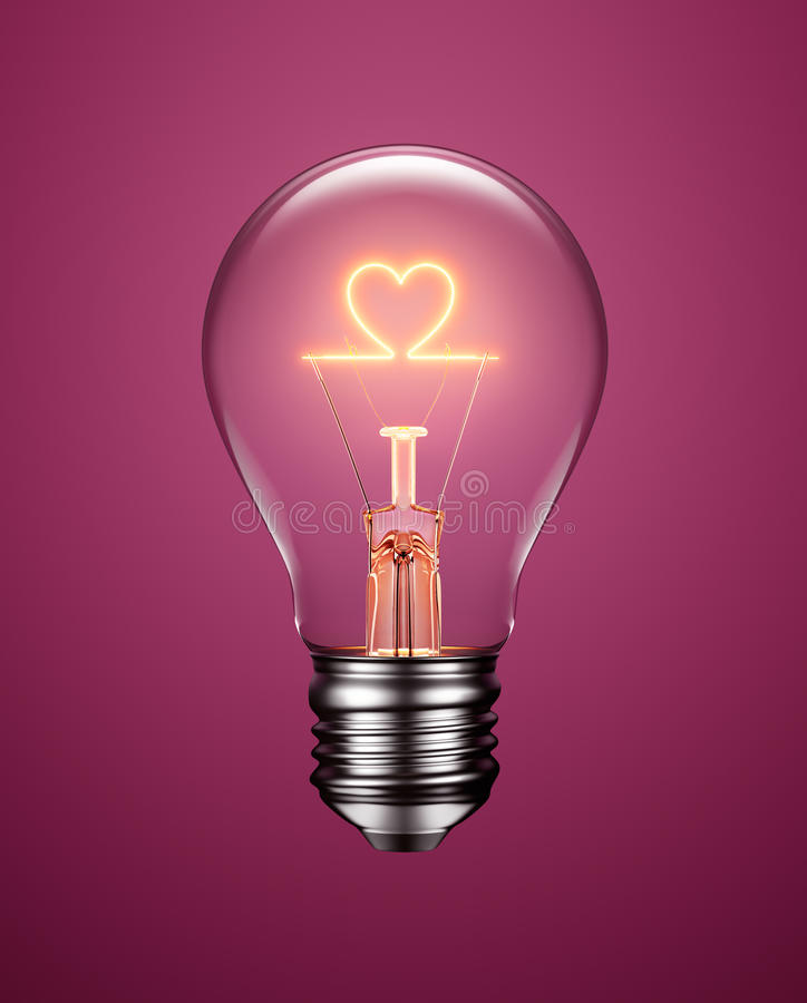Электрическая лампочка при нить формируя значок сердца иллюстрация вектора