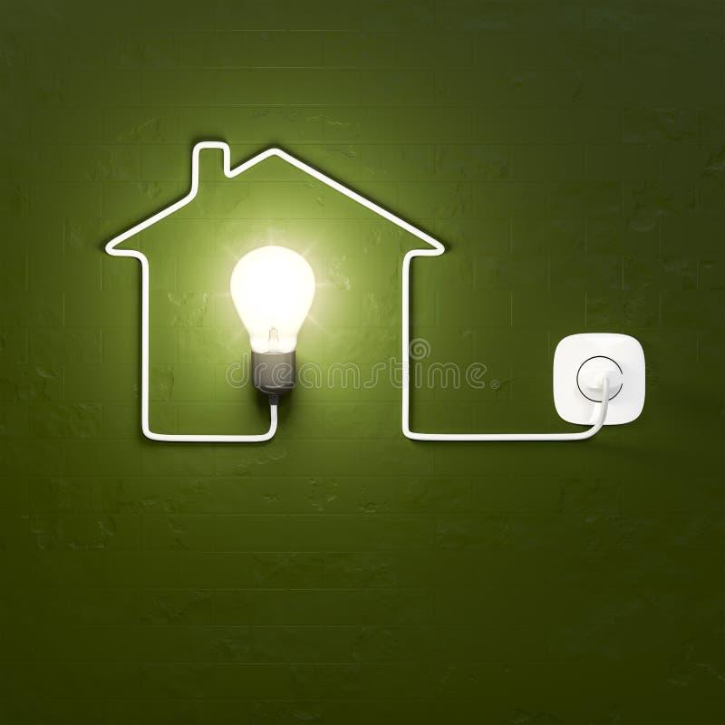 Электрическая лампочка строя дом с кабелем бесплатная иллюстрация
