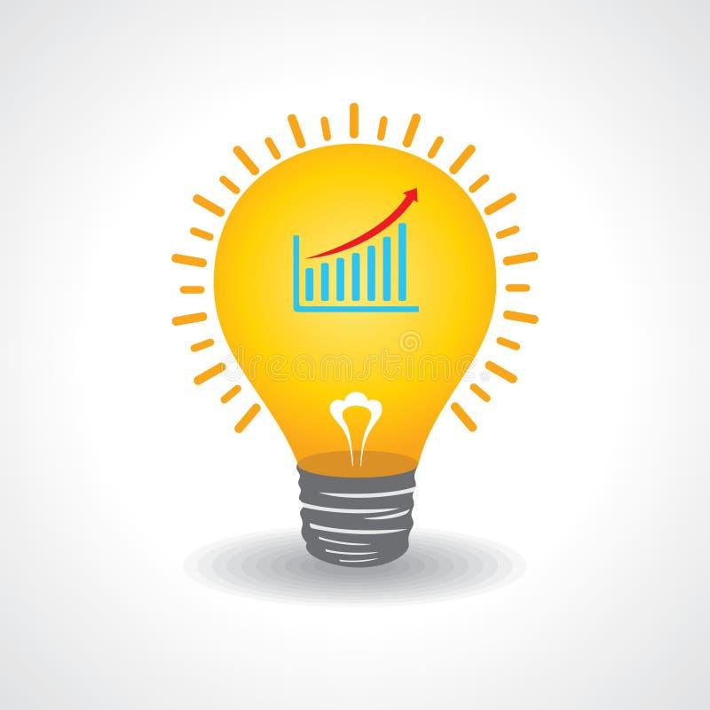 Электрическая лампочка с диаграммой дела иллюстрация штока