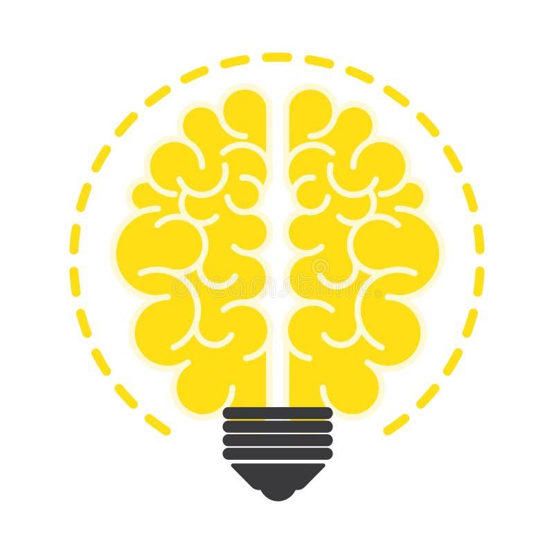 Электрическая лампочка с мозгом, плоским дизайном значка иллюстрация вектора