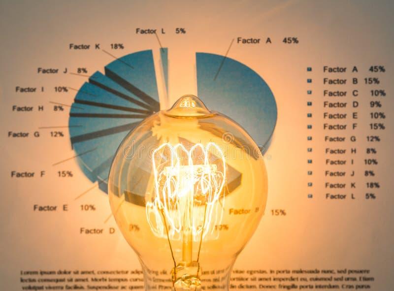 Электрическая лампочка с технологией диаграммы дела иллюстрация штока