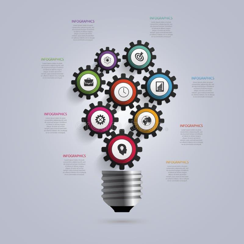 Электрическая лампочка с шестернями и cogs Шаблон дизайна Infographic владение домашнего ключа принципиальной схемы дела золотист иллюстрация вектора