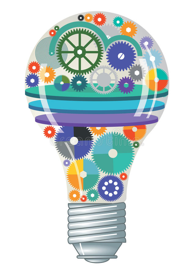 Электрическая лампочка с шестернями и cogs иллюстрация вектора
