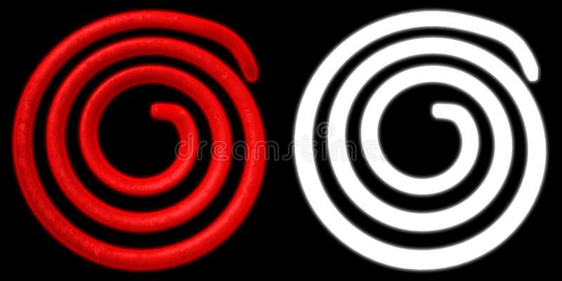 Электрическая спираль нагретая к красному цвету Элемент змеевика для обогрева С каналом альфы иллюстрация 3d иллюстрация штока