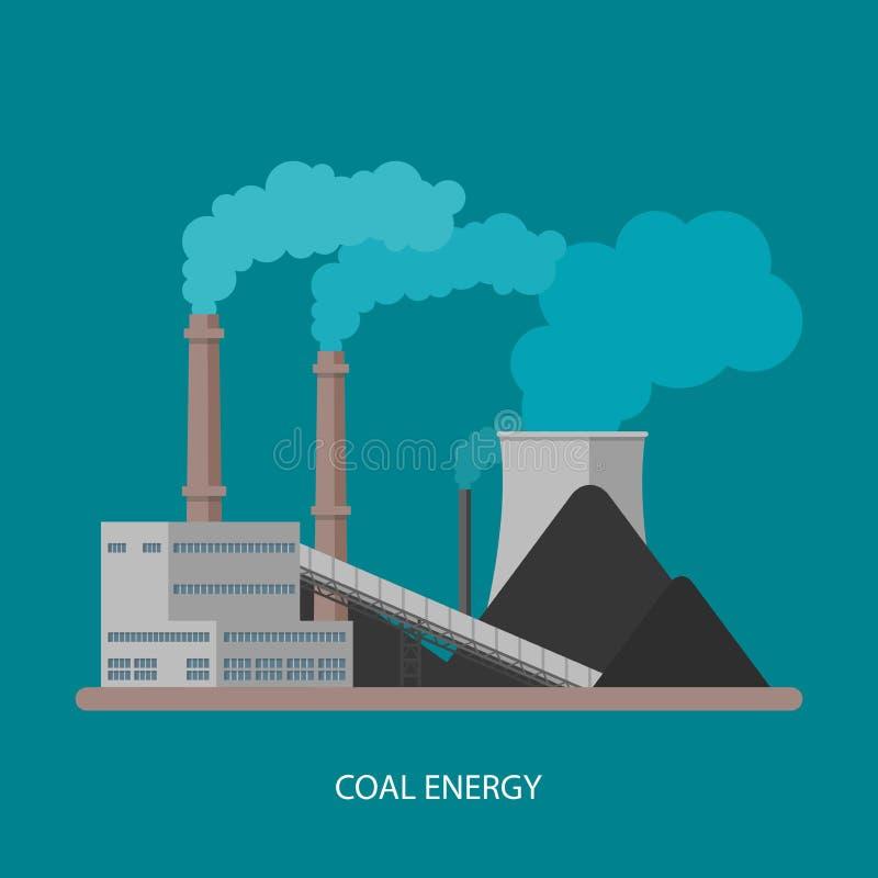 Электрическая станция и фабрика угольной электростанции Концепция энергии промышленная иллюстрация штока
