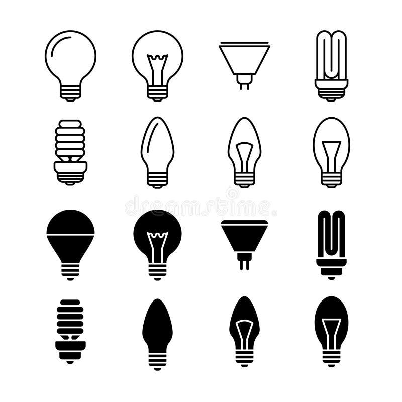 Электрические лампочки выравнивают и silhouette значки изолированные на белизне иллюстрация вектора