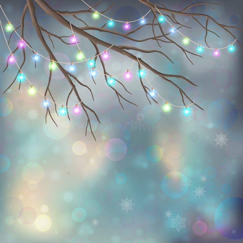 Электрические лампочки рождества на предпосылке ночи Xmas иллюстрация штока