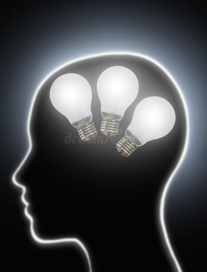 Электрические лампочки творческих способностей силы человеческого мозга иллюстрация вектора