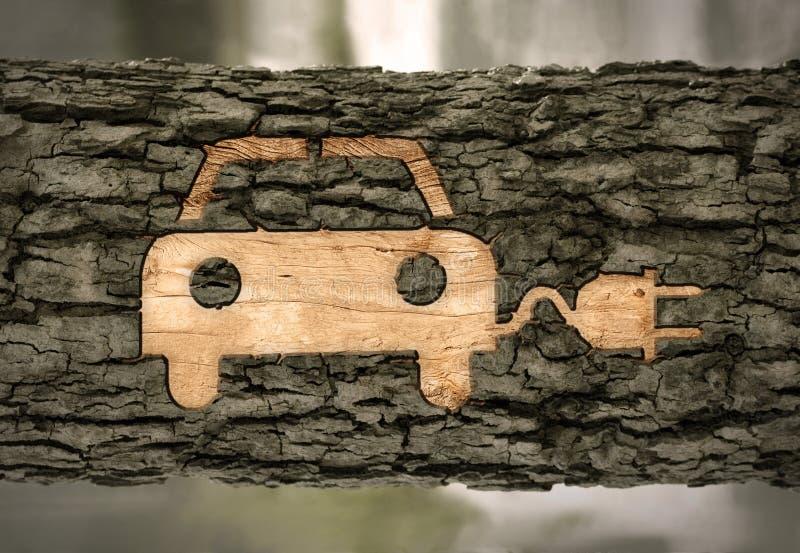 Электрический автомобиль на расшиве стоковое фото