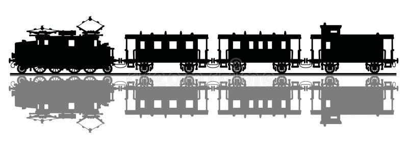 электрический старый поезд иллюстрация штока