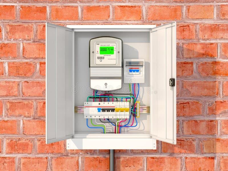 Электрический счетчик с автоматами защити цепи в коробке металла иллюстрация штока