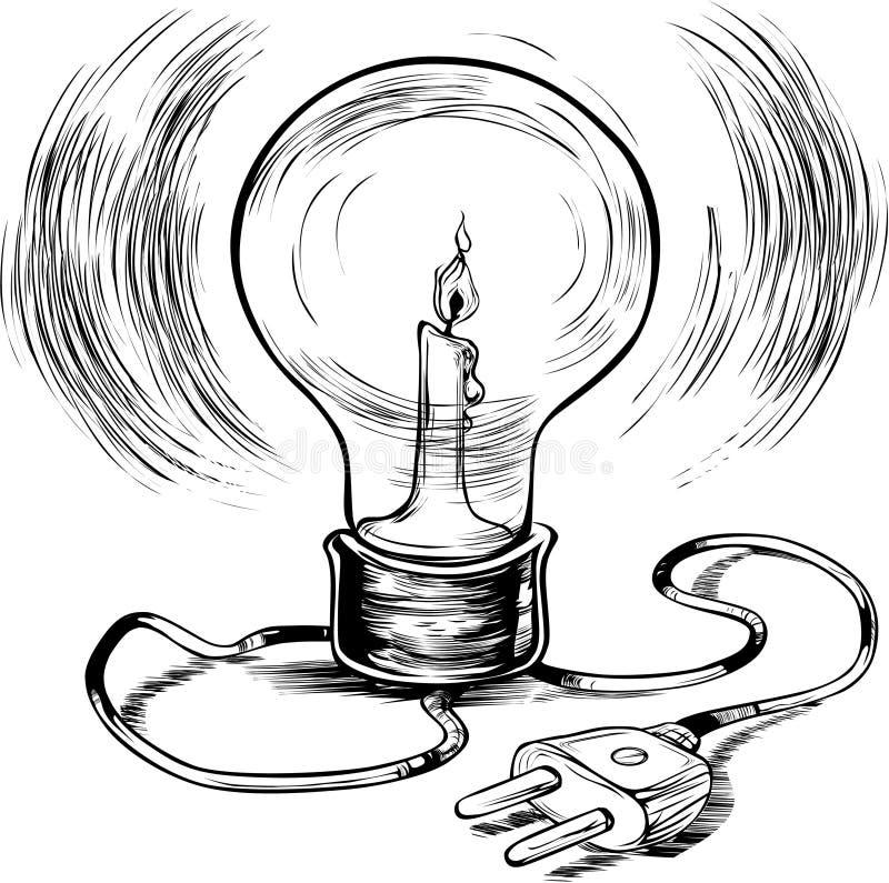 Электричество энергии эффективное горящее иллюстрация вектора