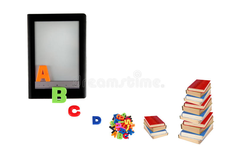 Электронная книга, обучение по Интернетуу, информация в eBook, современном educa иллюстрация вектора