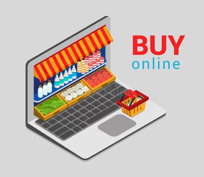 Электронная коммерция плоское 3d посещения магазина бакалеи покупки компьтер-книжки онлайн равновеликая бесплатная иллюстрация