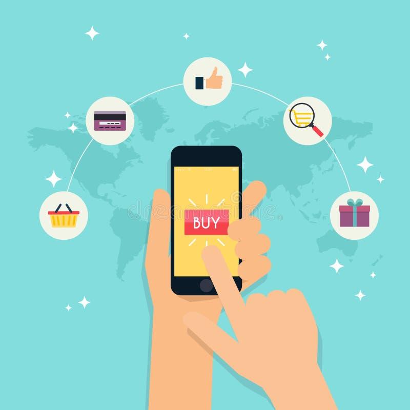 Электронная коммерция, электронное дело, онлайн покупки, оплата, deliv иллюстрация штока