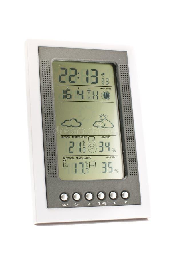 Электронная метеорологическая станция изолированная на белой предпосылке стоковое фото rf