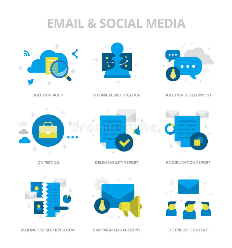 Электронная почта & значки социальных средств массовой информации плоские иллюстрация штока