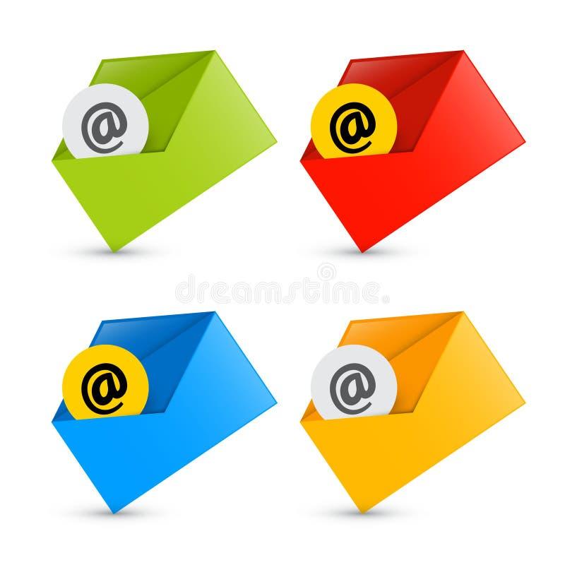 Электронная почта, значки электронной почты, установленные значки конверта бесплатная иллюстрация