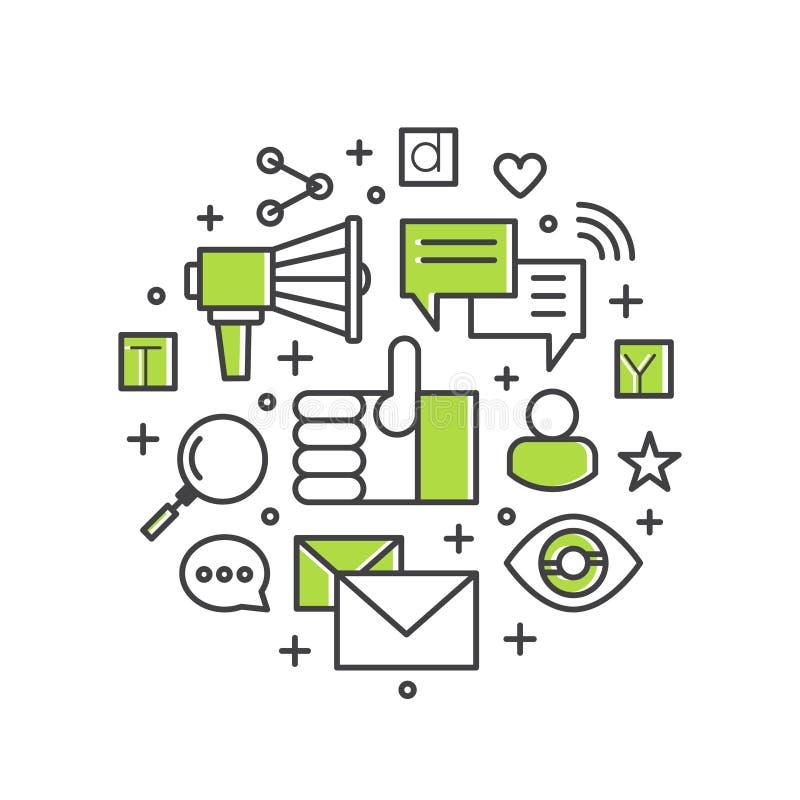 Электронная почта интернета или передвижные уведомления и маркетинг предложения и социальная кампания иллюстрация вектора