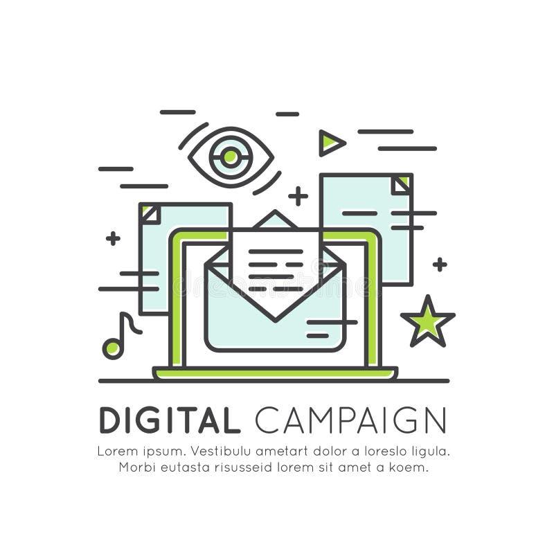 Электронная почта интернета или передвижные уведомления и маркетинг предложения и социальная кампания бесплатная иллюстрация