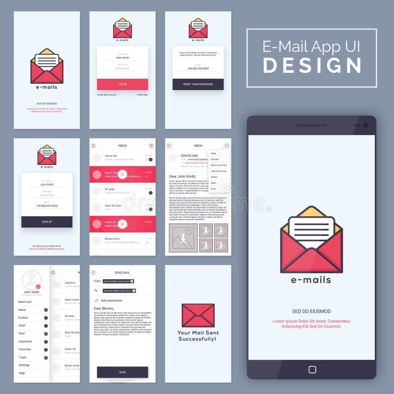 Электронная почта передвижной план шаблона App UI, UX и GUI бесплатная иллюстрация