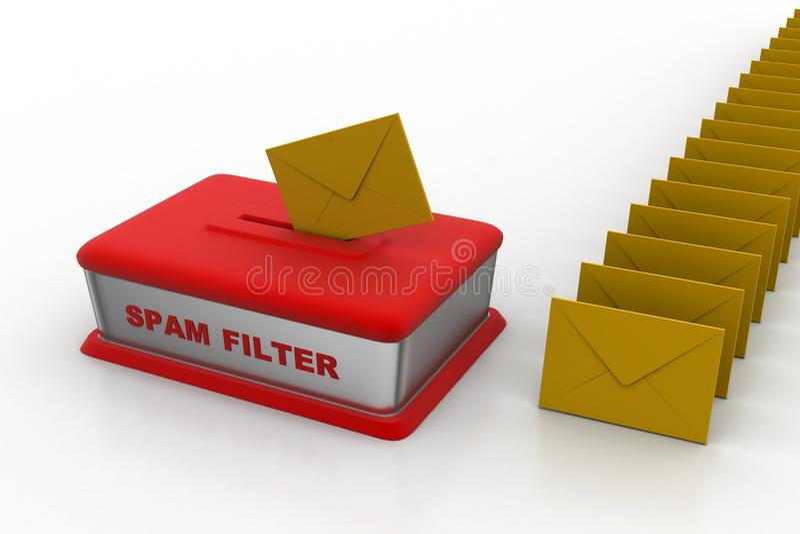Электронная почта через фильтр спама иллюстрация вектора
