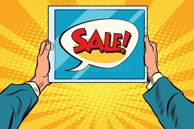 Электронная таблетка в руке, продаже иллюстрация вектора