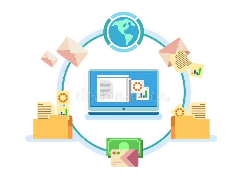 Электронное управление документооборотом иллюстрация штока